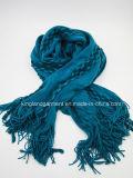 Striped способа Acrylic 100% бежевое & Buddled шарф связанный Warp с краем