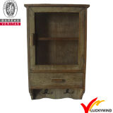 Module de mur en bois de mémoire noire de cru petit avec les portes en verre