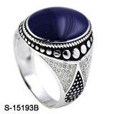 O anel o mais atrasado do homem do esmalte da prata esterlina dos projetos 925 com pedra da CZ