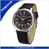 Montre véritable de courroie en cuir de montre d'hommes de qualité de montre de mode