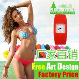 La venta al por mayor de la fábrica crea el reloj impermeable del Wristband para requisitos particulares del silicón