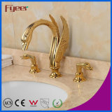 Fyeer Nouveau attrayant double poignée Golden Waterfall Swan Basin Faucet