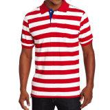 Streifen-Jersey-Polo-Hemd der Großhandelsbaumwollmänner