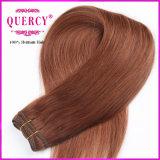 Le cheveu de Brown foncé a coloré les cheveux humains droits péruviens de l'armure 100% de cheveu