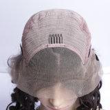 Le chapeau de Glueless avec des peignes et la couleur des cheveux noire normale de perruque bouclée desserrée d'onde de courroies peut être les perruques normales de cheveu de la teinture 100%
