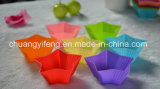 Molde útil FDA/LFGB do copo do bolo da estrela colorida dos Cinco-Pontos do silicone