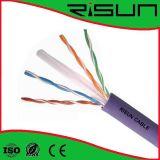 CE, RoHS, cabo de LAN CAT6 de cobre do sólido do ISO UTP/costa
