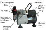 Af18k-2 выполняют Tattoo торта хоббиа компрессора воздуха набора Airbrush Двойн-Действия силы тяжести установленный