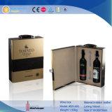 Venta al por mayor de cuero de lujo de la maleta vino para 2 botellas (5841R1)