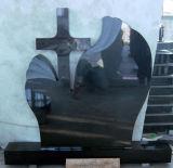 Pierres tombales noires de granit de Shanxi de pierres tombales blanc