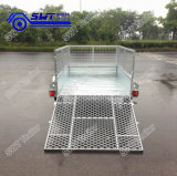 Mesh Rampの7X4 Galvanized Single Axle Box Cage Trailer