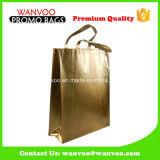 Los PP grandes laminaron el bolso de compras no tejido del oro con aduana de la insignia