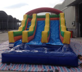 Diapositiva de agua inflable de la venta caliente del verano/diapositiva de agua doble inflable del carril con la piscina