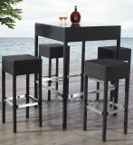 Barra impermeabile del rattan sintetico esterno della Tabella di Chair& della barra della mobilia dell'hotel impostata (YT015-2)
