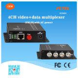 4つのチャネルのビデオ+ 1つのチャネル逆RS232 RS485 RS422の光学マルチプレクサ