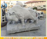 Statue animale en pierre d'ours blanc de sculpture