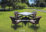 Design moderno Simple francês Table e Chair Set Rattan Dining Set Wicker