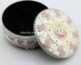 Ретро круглая коробка хранения ювелирных изделий, коробка ювелирных изделий металла установленная