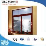 Guichet en verre en aluminium avec des modèles d'intérieur d'abat-jour pour l'usine de porte de Guangzhou