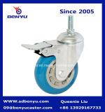 Полиуретана цвета качества колесо рицинуса голубого бортовое фиксируя