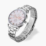Reloj caliente del estilo de la tira de los hombres de gama alta del estilo del doble del ocio caliente de acero del calendario