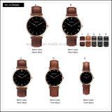 Relógio de couro clássico simples de W do estilo dos relógios de forma D do aço inoxidável