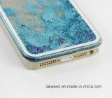 Projetar a caixa líquida Shinning colorida da tampa traseira do Quicksand TPU+PC da areia da estrela para o iPhone 5 caixa do telefone 6 6s móvel