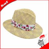 Chapéu largo de Sun da fita da borda do chapéu de Panamá da palha do Fedora