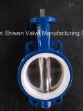 Tipo alinhado PTFE válvula da bolacha do Teflon de borboleta com o ISO aprovado