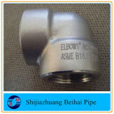 ASME B16.11のステンレス鋼A182 F304L 3000#の糸90degの肘