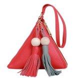 Borsa dei sacchetti di frizione delle signore del triangolo di modo piccola con le nappe (LDO-01655)