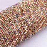 сетка Rhinestone основания металла золота 45*120cm цветастая для вспомогательного оборудования одежды