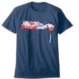 T-shirt 100% curto do algodão da garganta de grupo da luva