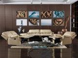 Beige lederne Farberecliner-Sofa-Sets