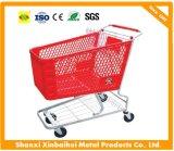 Chariot/chariots en plastique à achats de supermarché avec le traitement galvanisé