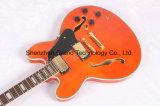 Furo dobro F, guitarra elétrica do jazz oco superior alaranjado do corpo Es335