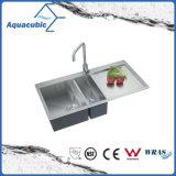 Fregadero de cocina hecho a mano doble clasificado aduana (ACS3920A2)