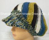 バイザーの縞の帽子の帽子(Hjb057)が付いている方法編む帽子