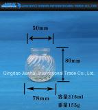 줄무늬 장식무늬가 든 유리 제품 단지를 가진 200ml 촛대