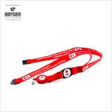 Cordon de col en polyester rouge / avec bobine de badge pour téléphones, appareils photo, USB, clés, porte-clés