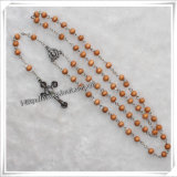 In het groot Jesus Cross Wooden Rosary Necklaces (iO-Cr242)