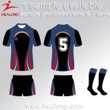 Rugby Jersey do Sublimation do clube da equipe da roupa do projeto da forma de Healong
