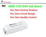 Ce, programa piloto 12V 60W 5AMPS, fuente de alimentación del LED 12V 60W, fuente de alimentación del factor LED del poder más elevado, PF>0.95 del IEC LED, para las tiras del LED, programa piloto del LED, fuente de alimentación