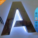 Von hinten beleuchtetes Zeichen-Zeichen des Edelstahl-LED für das Bekanntmachen