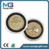 Moneda promocional del metal del oro del recuerdo con el rectángulo de regalo