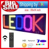"""Meldung LED-Bildschirmanzeige des LED-Zeichen RGB-39 programmierbaren Fernsteuerungsverschieben- der Bildschirmanzeige"""" X14 """" öffnen im Freiendas 7 Farben-Anschlagbrett"""