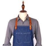 Venda por atacado azul resistente durável feita sob encomenda do avental da sarja de Nimes do barbeiro
