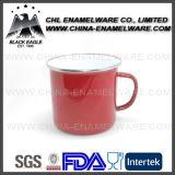 taza de café colorida del esmalte 12oz con envuelto alrededor de insignia