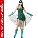 Le LIERRE vert mortel des femmes a sanglé le costume sexy latéral de robe de corset