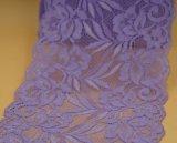 laço elástico do bordado da alta qualidade de 15cm para o vestuário